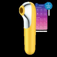 Вакуумный бесконтактный клиторальный стимулятор с управлением с телефона SATISFYER DUAL LOVE YELLOW