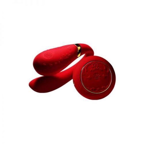 Вибромассажер для пар с функцией управления со смартфона красный ZALO Fanfan Set